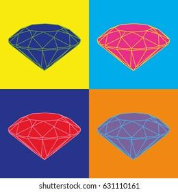 Four colored diamonds on color background. Pop art image.