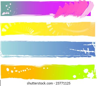 Four colored grungy banners ready for your text