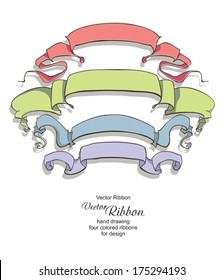 Four colored ribbons.