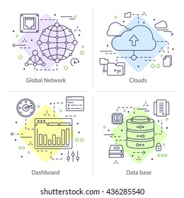 Four colored square datacenter icon set with descriptions of global network clouds dashboard and data base vector illustration