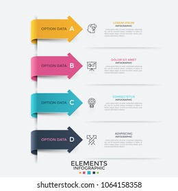 Four colorful arrows pointing at linear pictograms and text boxes. Concept of list with 4 options or features. Modern infographic design template. Vector illustration for website, presentation.