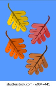 Four colorful autumnal leaves falling down over blue sky. Vector illustration