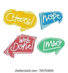 Four colorful balloon text word sticker, speech bubbles with cheers, nope, well done
