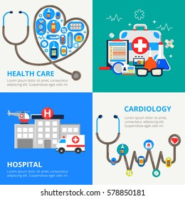 Four colorful banners in modern flat style. Health care concept  set. Vector illustration with a lot of medicine things, hospital, ambulance and stethoscope. Can used for web banners and info graphic.
