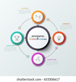 Four colorful circles with thin line symbols inside placed around central round element and connected. Cyclical business process concept. Realistic infographic design template. Vector illustration.