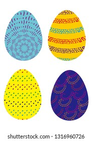 Four colorful decorative easter eggs to celebrate holiday