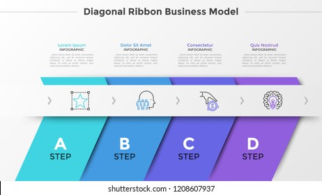 Four colorful diagonal ribbons, letters and thin line icons arranged into horizontal row. Concept of 4 successive steps of startup development. Modern infographic design template. Vector illustration.