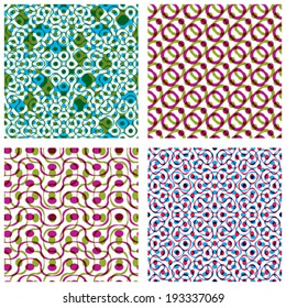 Four colorful dotted seamless patterns, set of bright polka dot tiles, infinite geometric surface textures with dots and circles, multicolored tiling.