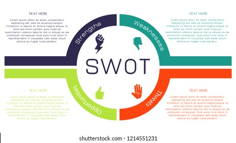 Four colorful elements concept of SWOT-analysis. Infographic vector illustration.