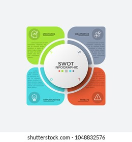 Four colorful elements with thin line symbols and place for text inside placed around circle. Concept of SWOT-analysis and business analytics. Modern infographic design template. Vector illustration