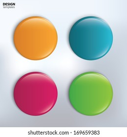 Four colorful glossy badge. vector