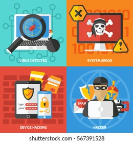 Four colorful hacking compositions with flat images and pictograms of gadgets viral protection and hacker character vector illustration