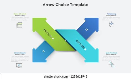 Four colorful intertwined paper arrows pointing at different directions. Infographic design template. Vector illustration for business strategic plan or startup development options visualization.