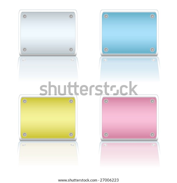 Four colorful metal blank sign with color coded reflections