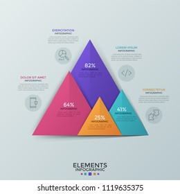 Four colorful overlaying triangles with percentage indication, linear icons and place for text. Comparison bar chart. Creative infographic design template. Vector illustration for statistics report.