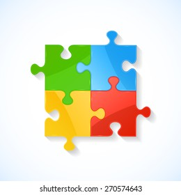 Four colorful puzzle elements on white background, illustration.