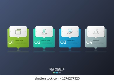 Four colorful rectangles with pointers or speech bubbles placed in horizontal row. Infographic design layout. Concept of 4 successive steps of business process. Vector illustration for presentation.
