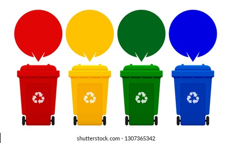four colorful recycle bins isolated on white background, bin and speech bubbles for copy space template, red, yellow, green and blue bins with recycle waste symbol, front view four recycle bin, vector