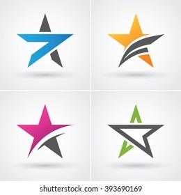 Four colorful stars icon set for logo design