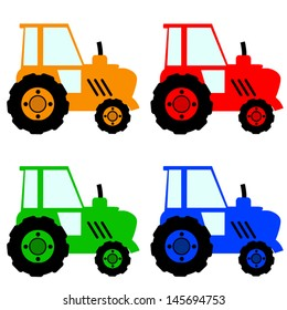 Four colorful tractors