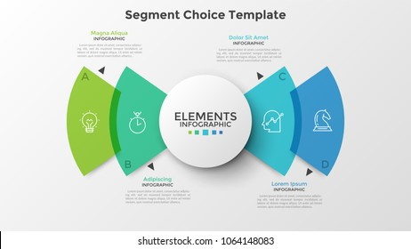 Four colorful translucent rounded sectoral elements with thin line icons inside, white circle in center and text boxes. Infographic design template. Vector illustration for website interface.