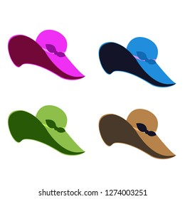 Four colorful women's hats on white background