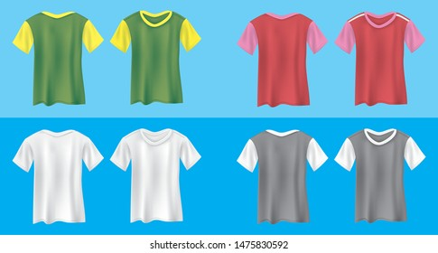 Four colors of men's T shirts front and back in vector illustration