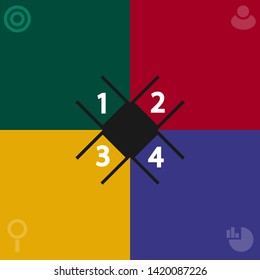 four colors quadrant template vector : green , yellow , blue , red