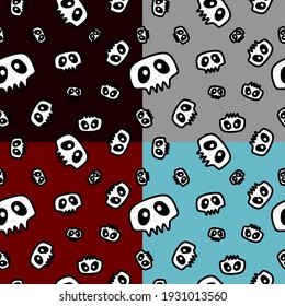 Four colors seamless pattern with skull . Cute cartoon character. Perfect for texture, fabric , apparel. Halloween concept.