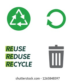Four colour vector icons on recycling theme