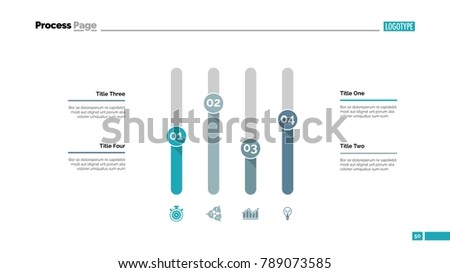 Four Columns Chart Slide Template Stock Vector Royalty Free