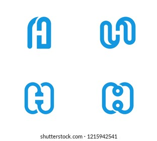 four concept h negative space logo