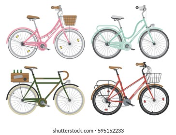 Four configurations of city, street or casual bicycles. Bikes for short distance around the town. Different frames and accessories bicycle set. Ecology transport. Detailed vector illustration.