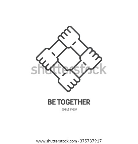 Four Connected Hands Symbol Togetherness Vector Stock Vector