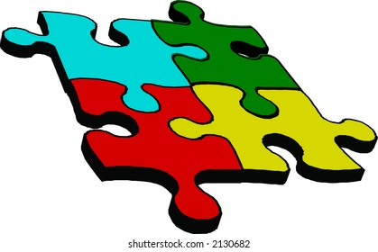 Four connected pieces of puzzle