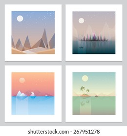 four contemporary minimalistic landscape print wallpaper designs. Low polygon style flat illustrations of abstract desert, northern forests, arctic glaciers and palm trees island concept artworks