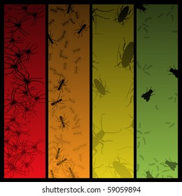 Four creepy banners featuring insects and spiders