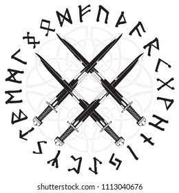 Four crossed the Vikings sword in a circle of Norse runes, isolated on white, vector illustration