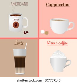 Four cups of coffee set. Illustration of four cups of coffee - cappuccino, americano, latte and Vienna coffee. Isolated vector illustration for your design.