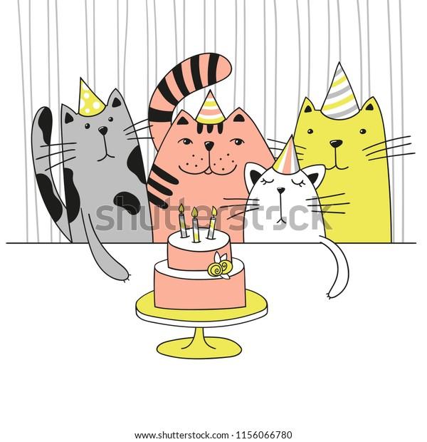 Surprising Four Cute Cartoon Cats Birthday Party Stock Vector Royalty Free Funny Birthday Cards Online Necthendildamsfinfo