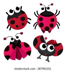 Four cute cartoon ladybirds or ladybugs vector stock illustration.