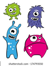 Four cute characters - monsters or aliens.