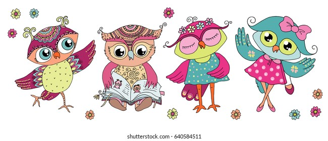 Four cute colorful cartoon owls - is reading the book, is dancing, two girls in dress. Horizontal illustration size. Can be used for sticker, birthday cards, invitations, print, textile