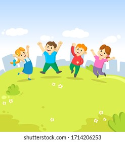 Four cute kids jumping for joy together on the grass on city background. Childhood, playground, fun. Colorful cartoon flat vector illustration.