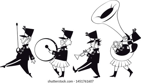 Four cute kids in marching band, EPS 8 black vector line art, no white objects