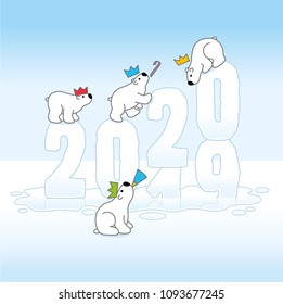 Four Cute Partying Polar Bears wearing paper Hats Balancing on Frozen Changing New Year 2019-2020 Melting on an Ice Cold Puddle