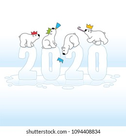 Four Cute partying Polar Bears wearing Paper Hats while Balancing on Frozen New Year 2020 with Reflections Melting on Ice Cold Puddle