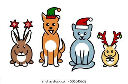 Four cute pet animals wearing Christmas novelty hats