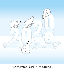 Four Cute Polar Bears Balancing on Changing New Year 2019-2020 Melting in an Ice Cold Puddle with Reflections