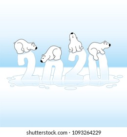 Four Cute Polar Bears Balancing on Melting New Year 2020 sinking in an Ice Cold Puddle